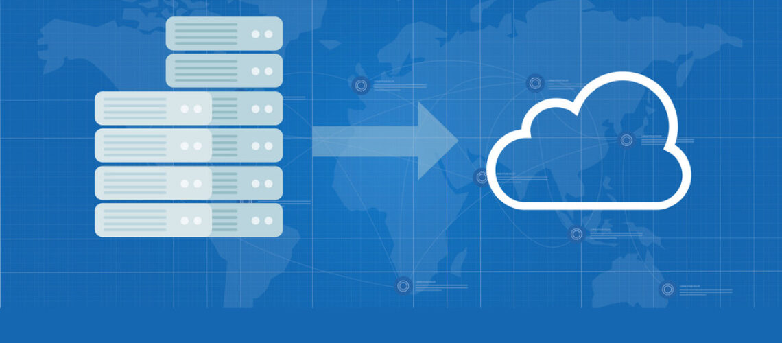server migration to the cloud infrastructure move data to internet vector